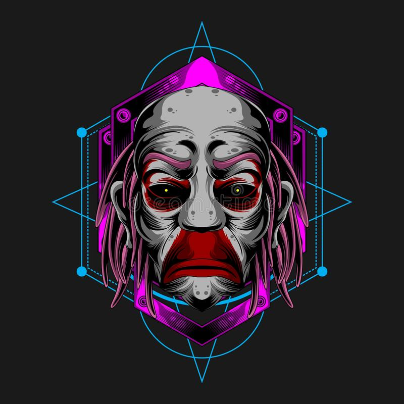 Trauriger Clown Face vektor abbildung