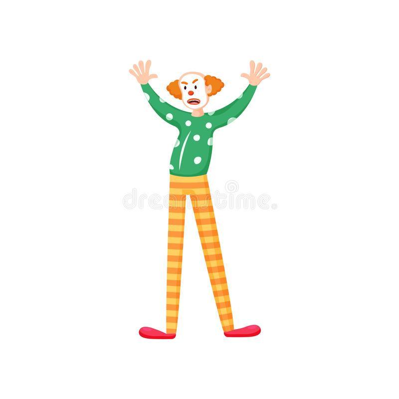 Trauriger Clown mit orange gestreiften Hosen des roten Haares vektor abbildung