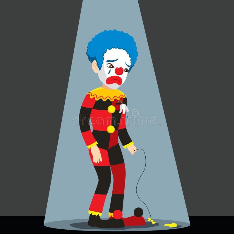 Trauriger Clown Under Spotlight lizenzfreie abbildung