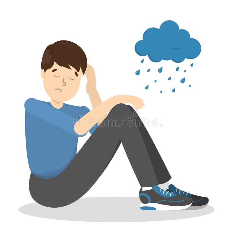 Trauriger deprimierter Mann mit regnerischer Wolke oben stock abbildung