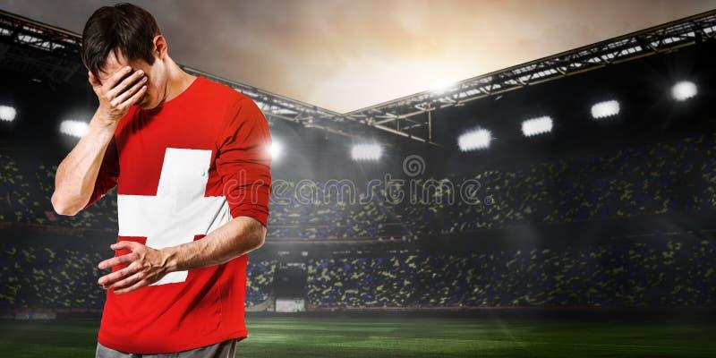 Trauriger die Schweiz-Spieler lizenzfreies stockbild
