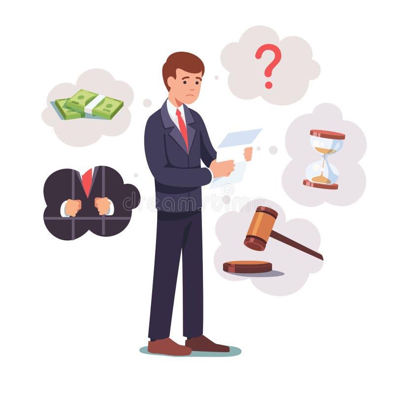 Trauriger gebrochener Geschäftsmann, der mit legalem Papier steht lizenzfreie abbildung