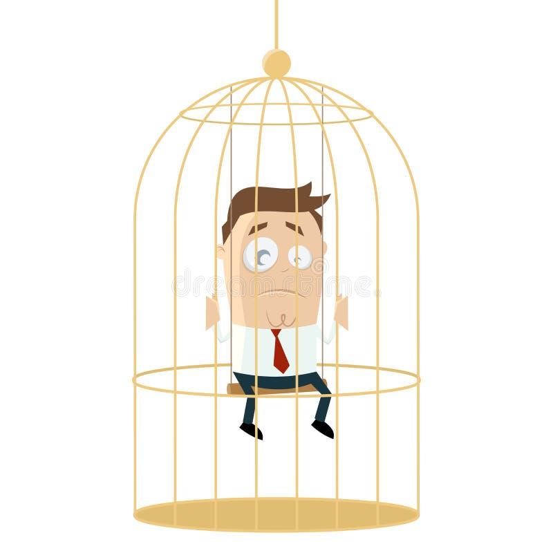 Trauriger Geschäftsmann im Birdcage stock abbildung