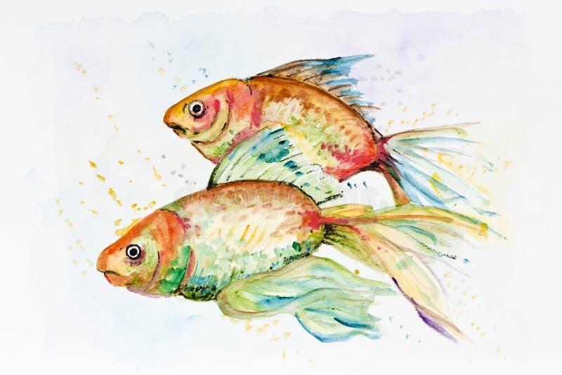 Trauriger Goldfisch stock abbildung