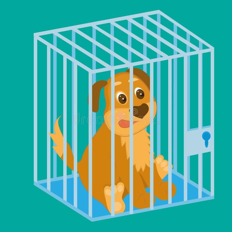 Trauriger Hund im Käfig sitting stockbilder