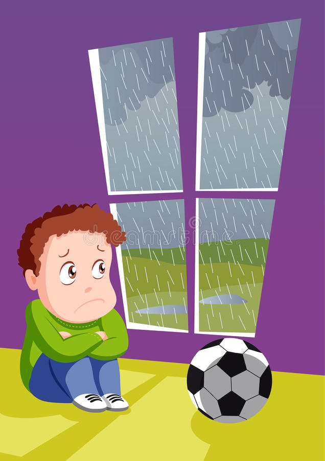 Trauriger Junge für falsches Wetter lizenzfreie abbildung