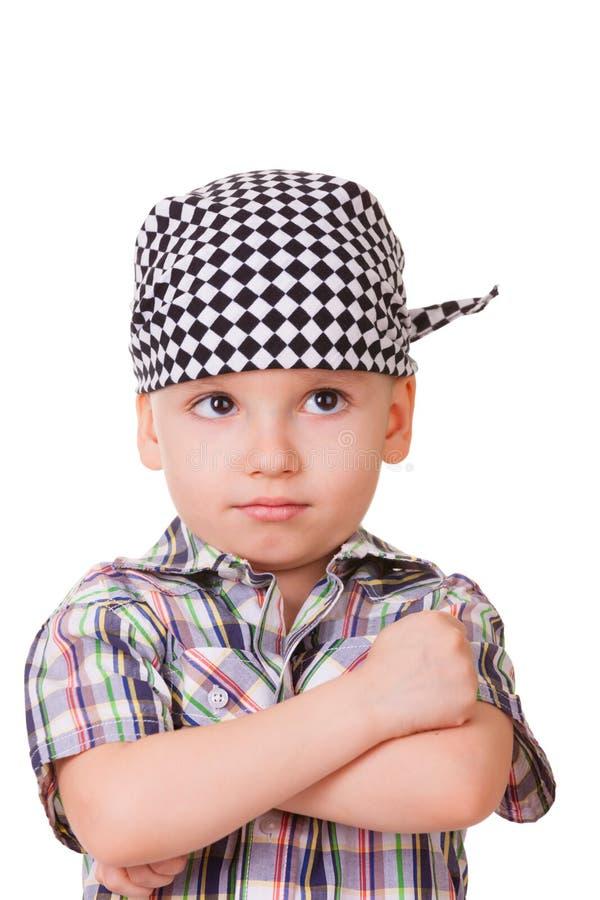 Trauriger Junge lokalisiert auf Weiß lizenzfreies stockbild