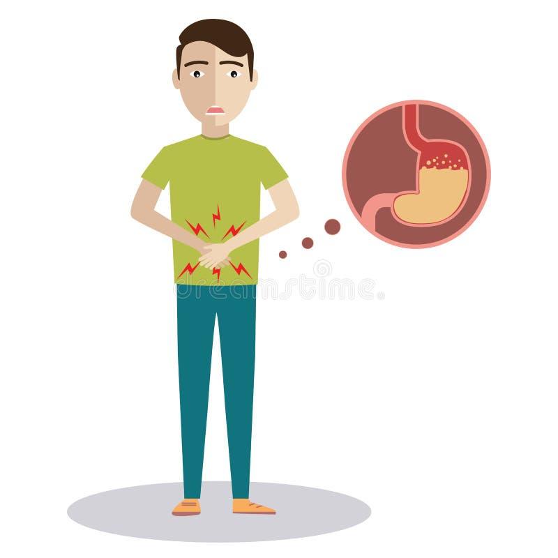 Trauriger kranker junger Mann mit Lebensmittelvergiftungsmagencharakter Karikaturillustrations-Ikonendesign des Vektors flaches L stock abbildung
