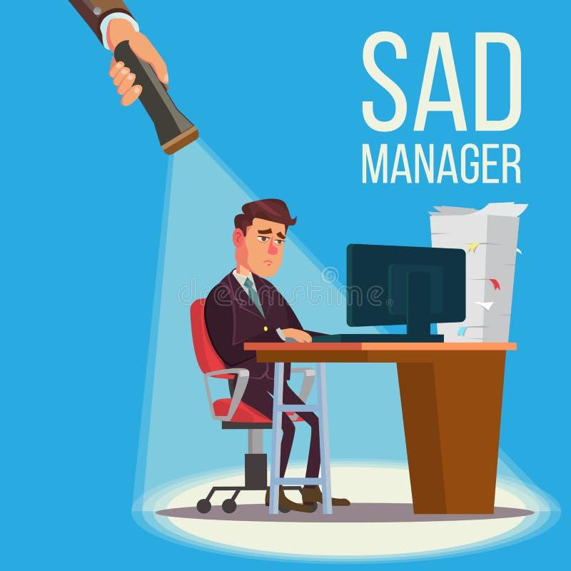 Trauriger Manager, Geschäftsmann Vector Sitzen am Arbeitsplatz lizenzfreie abbildung