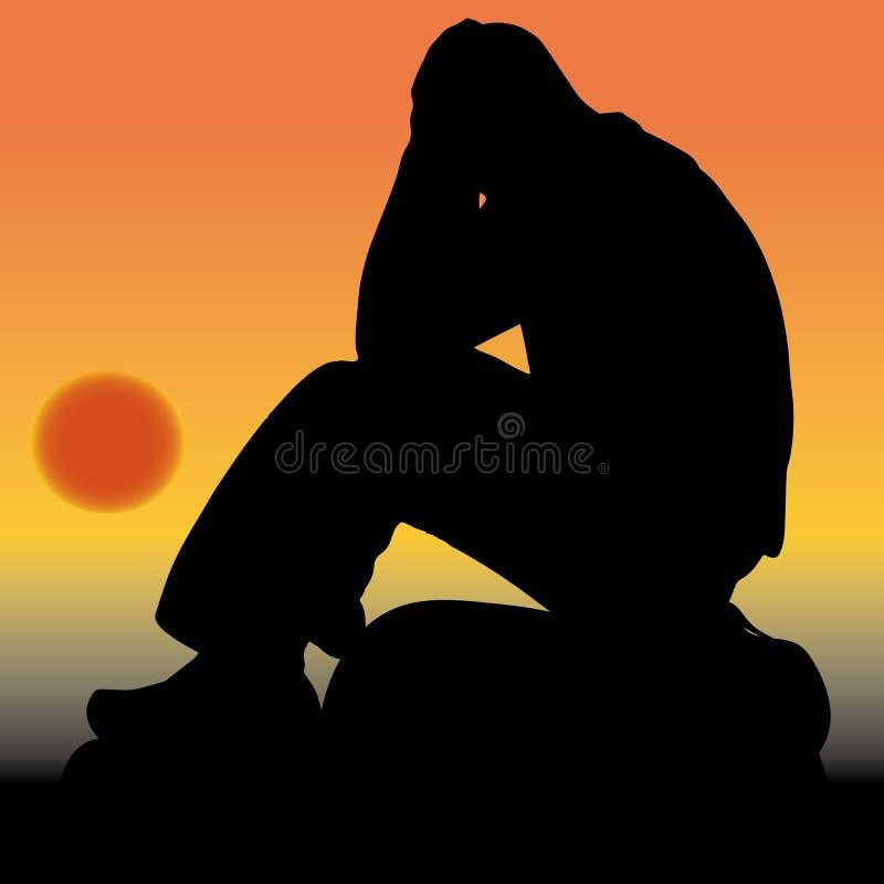Trauriger Mann, der auf einem Stein, seine Hände hinter seinem Kopf halten, s sitzt stock abbildung