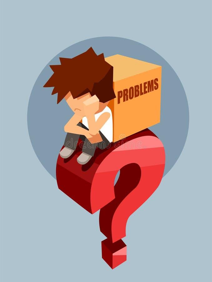 Trauriger Mann, der auf einer großen roten Frage mit Kasten Problemen sitzt stock abbildung