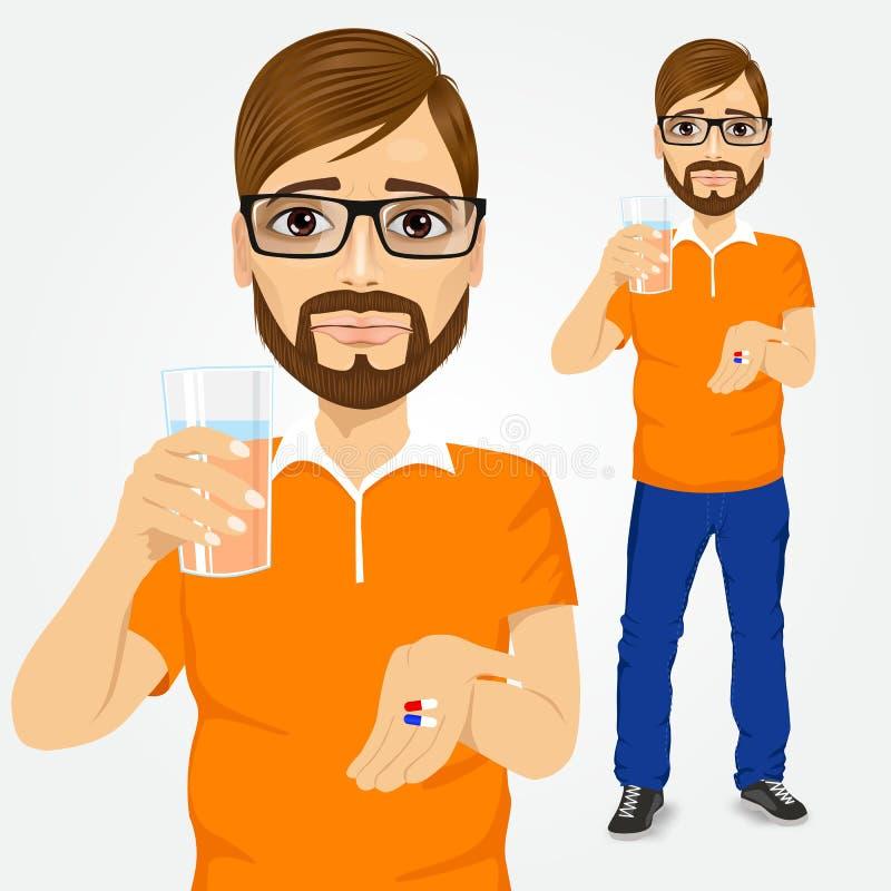Trauriger Mann, der Pillen mit Glas Wasser einnimmt lizenzfreie abbildung