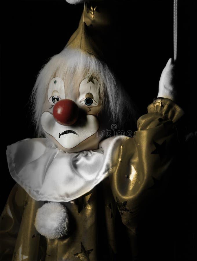 Trauriger Marionette-Clown lizenzfreie stockfotografie