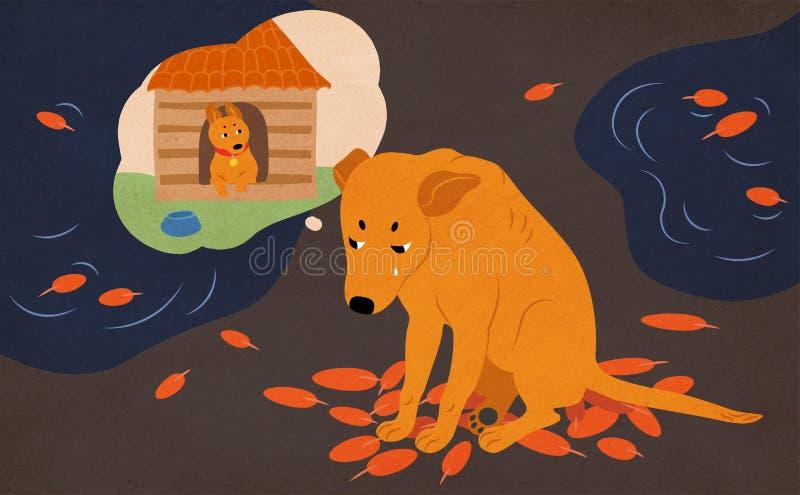 Trauriger obdachloser Hund, der auf der Straße bedeckt mit Herbstlaub und Pfützen sitzt, von der Annahme und vom Haus schreit und lizenzfreie abbildung