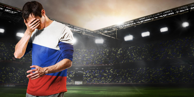 Trauriger Russland-Spieler lizenzfreie stockbilder
