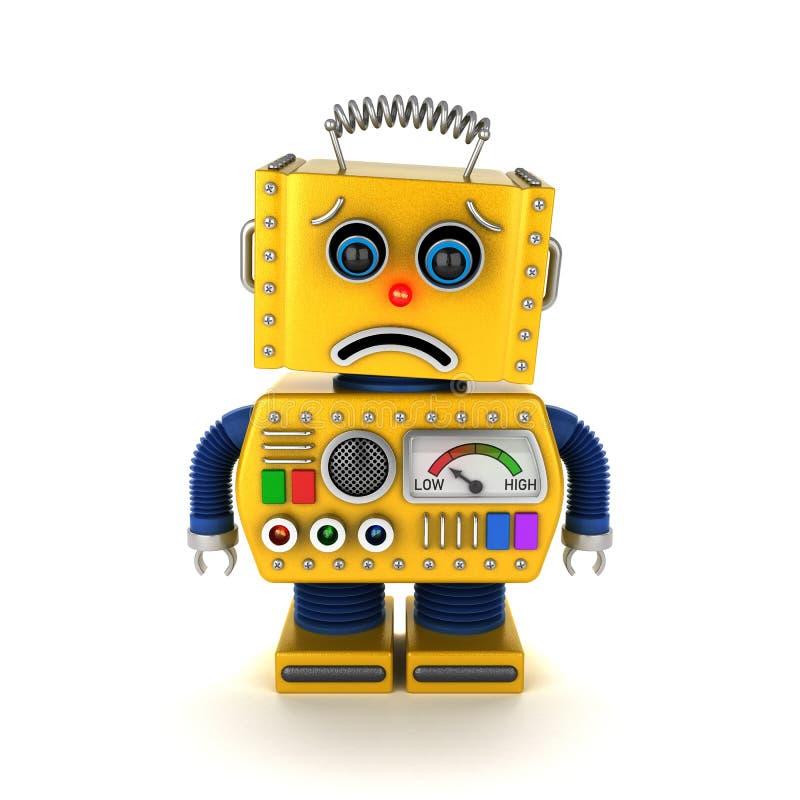 Trauriger Spielzeugroboter über Weiß lizenzfreie abbildung