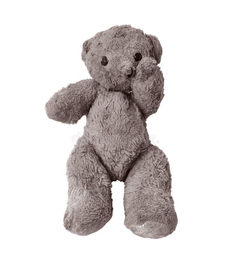 Trauriger und einsamer Teddybär stockfotos