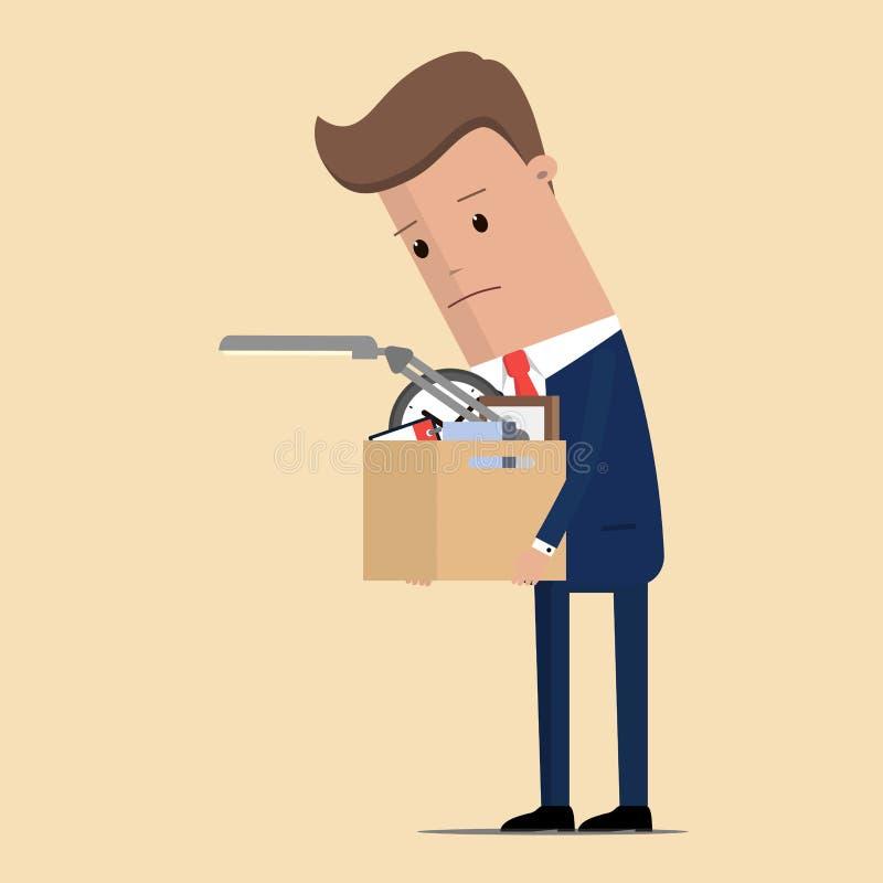 Trauriger unglücklicher Geschäftsmanncharakter abgefeuert vom Job Auch im corel abgehobenen Betrag lizenzfreie abbildung