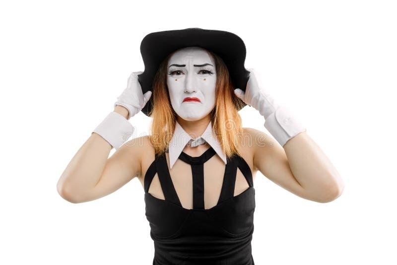 Trauriger weiblicher Pantomime auf Weiß lizenzfreies stockfoto