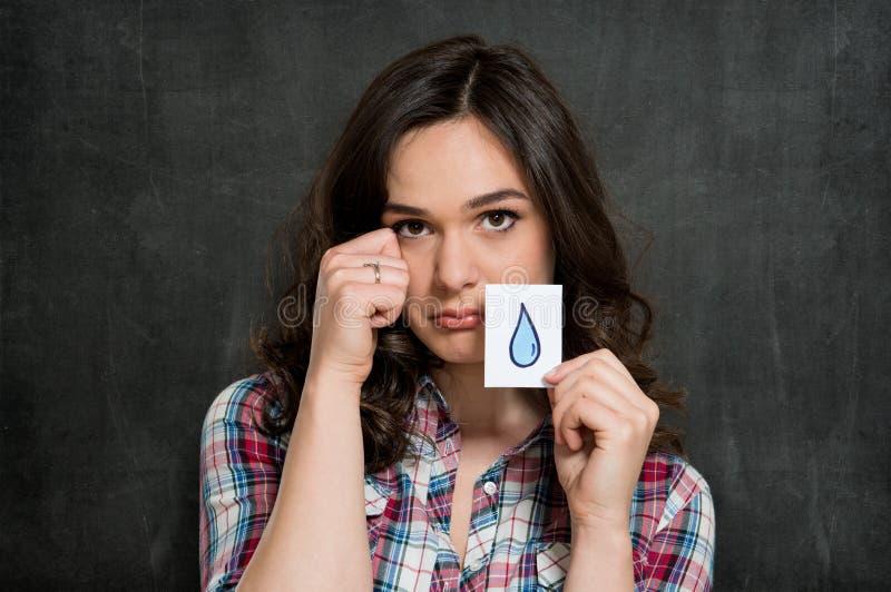 Trauriges Frauenschreien lizenzfreie stockfotos