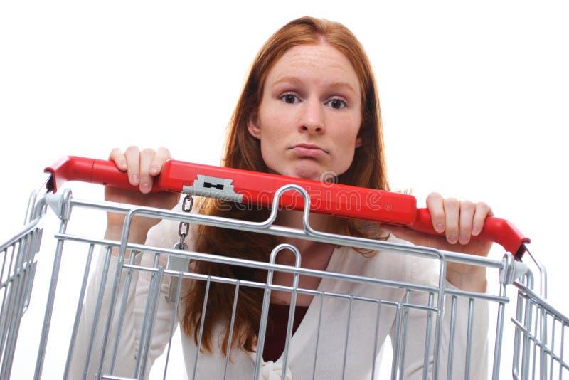 Trauriges Hausfrau-Einkaufen lizenzfreies stockbild