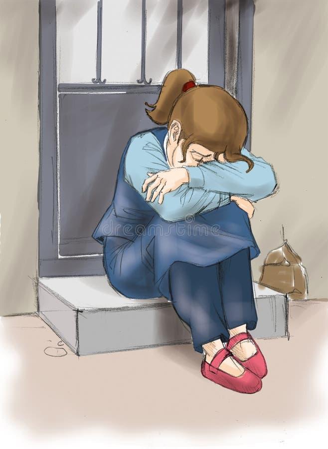 Trauriges kleines Mädchen lizenzfreie abbildung