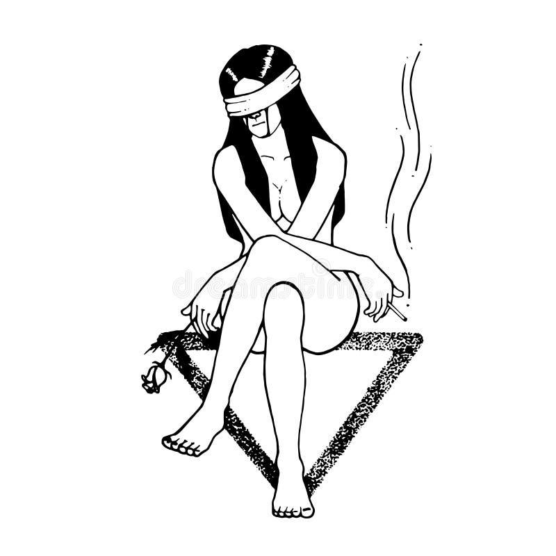 Trauriges Mädchen setzen sich auf Dreiecksymbol hin rechte Hand mit Zigarette vektor abbildung