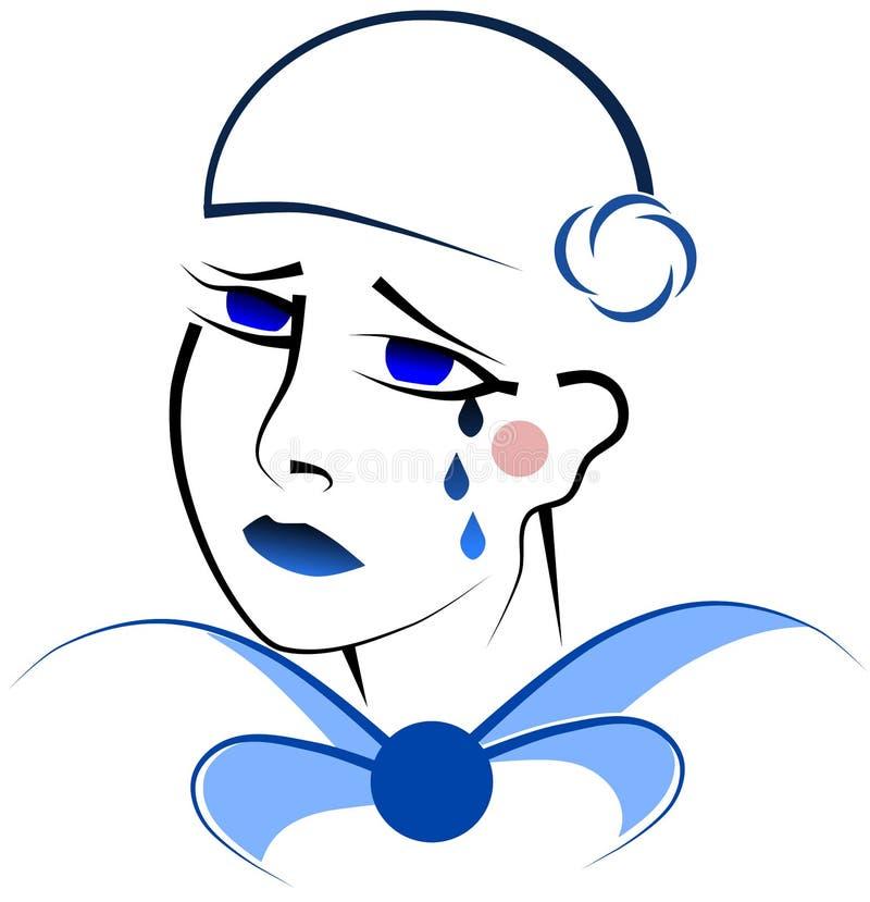 Trauriges Pierrot stock abbildung