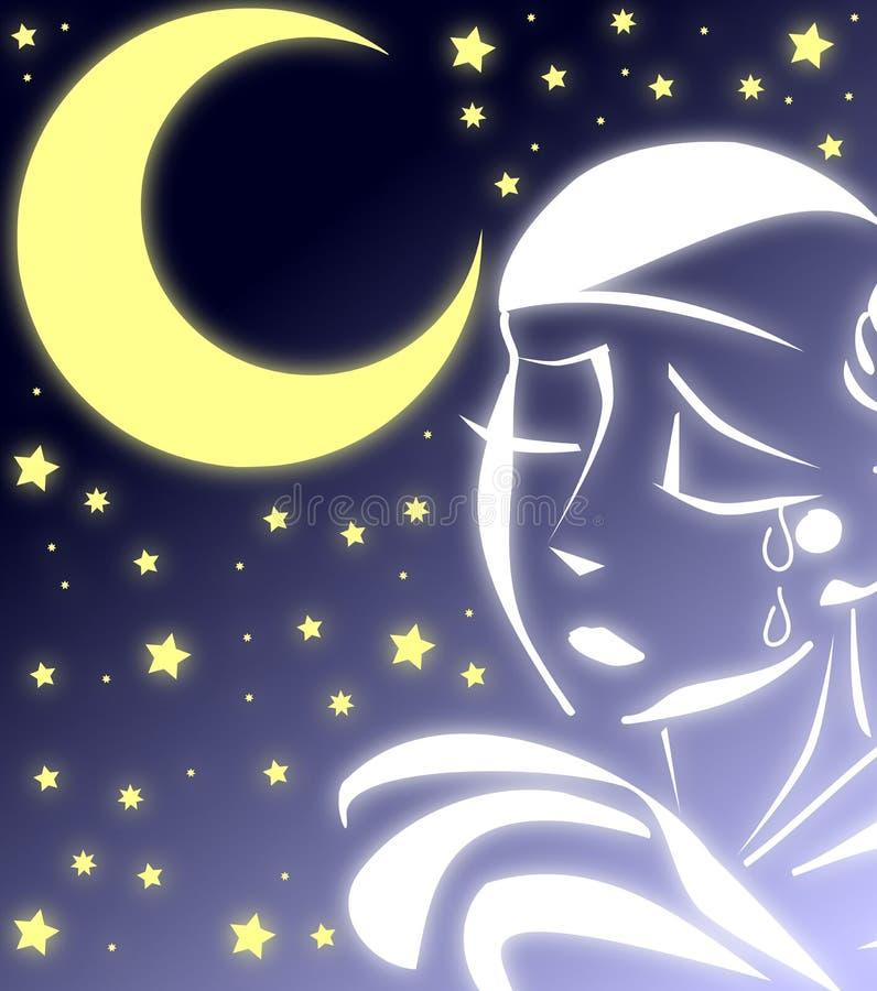 Trauriges Pierrot in einer sternenklaren Nacht vektor abbildung