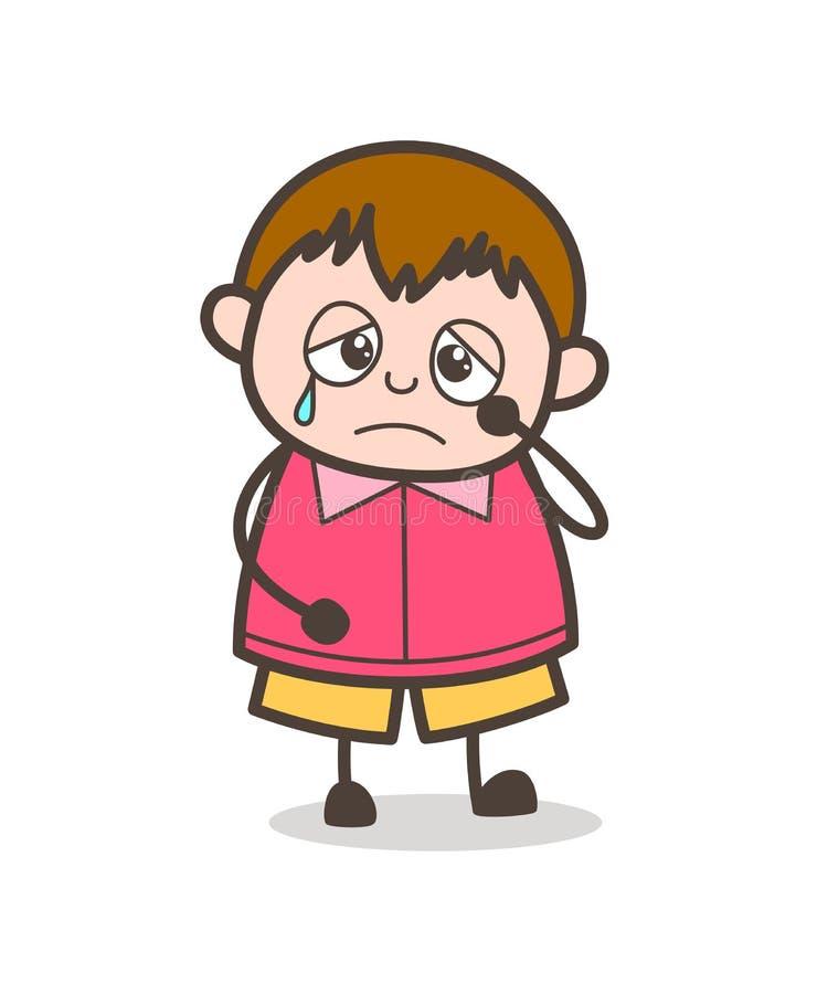 Trauriges schreiendes Gesicht - nette Karikatur-fette Kinderillustration vektor abbildung
