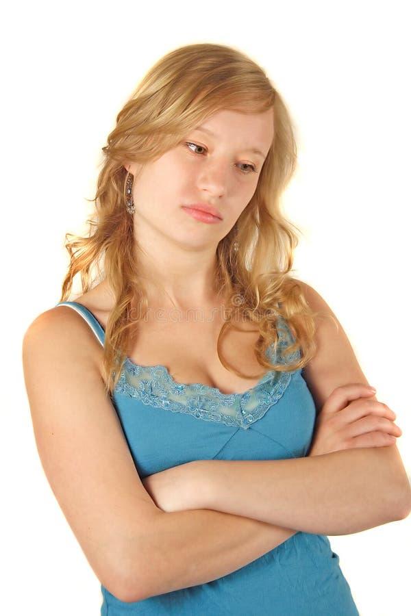 Trauriges und unglückliches Mädchen stockfoto