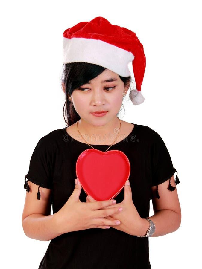Trauriges Weihnachtsmädchen lizenzfreies stockfoto