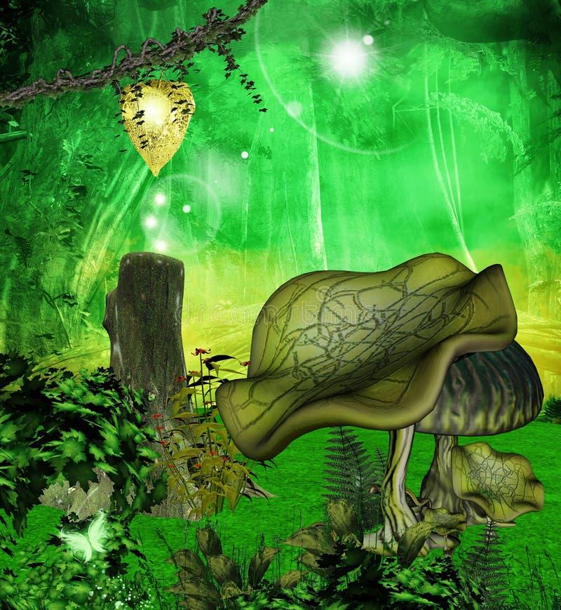 A través del bosque encantado ilustración del vector