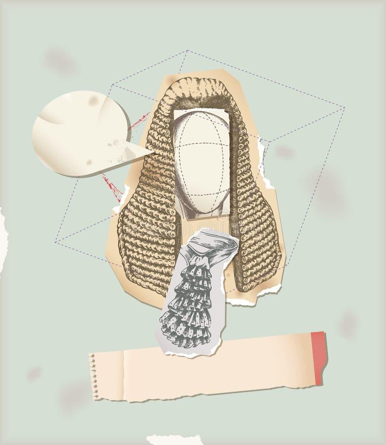 A través del collage de la peluca del juez de la historia stock de ilustración