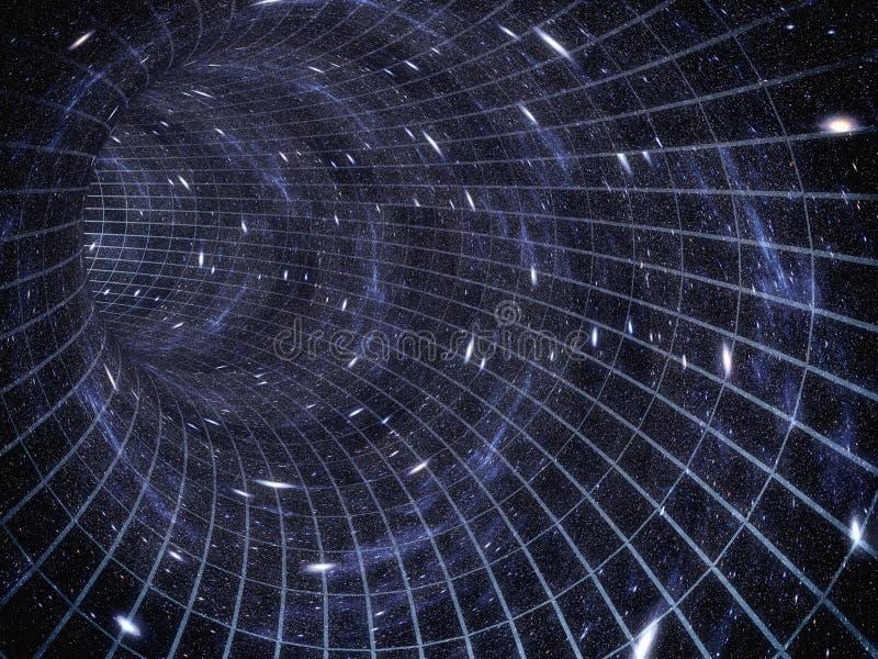 A través del universo El viajar en espacio Viaje del tiempo ilustración del vector