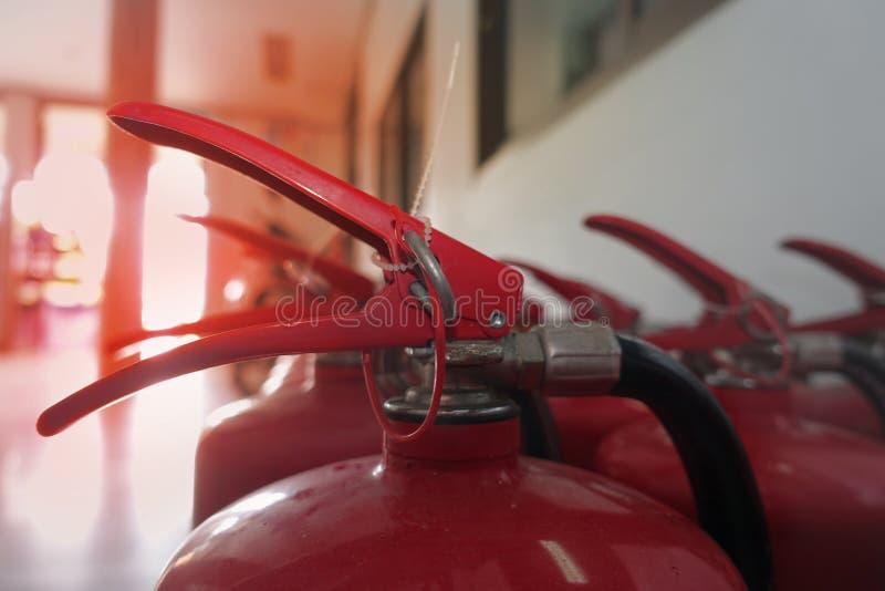 Trava e pino do extingusher químico vermelho do fogo fotografia de stock royalty free