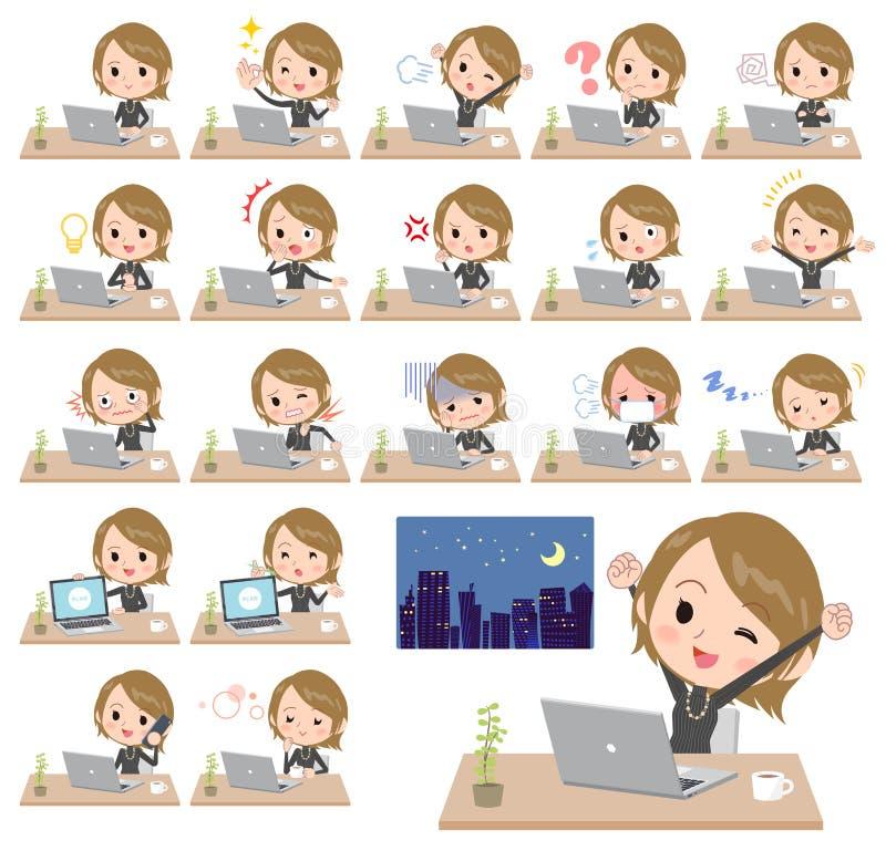 Travail étranglé élevé de women_desk de noir de cheveux courts illustration de vecteur
