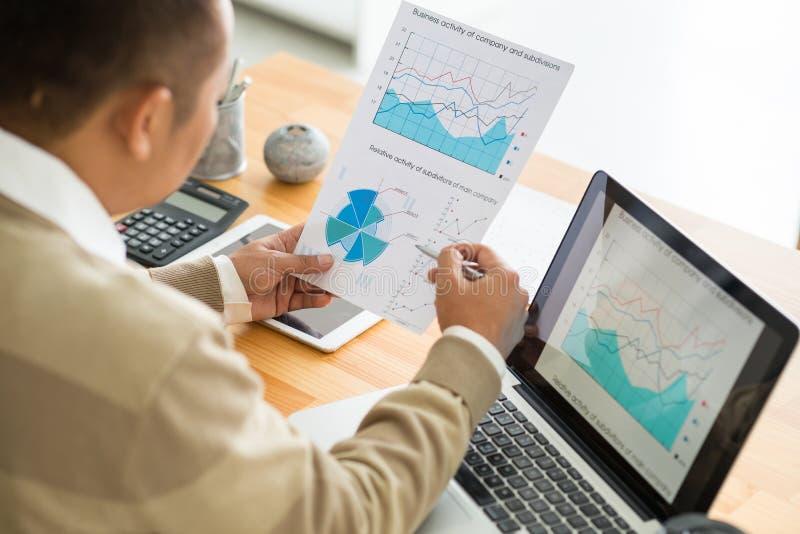 Travail avec des statistiques financières photographie stock