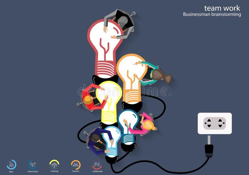 Travail d'équipe d'affaires de vecteur Les idées de séance de réflexion pour une lampe attachent la conception plate illustration libre de droits