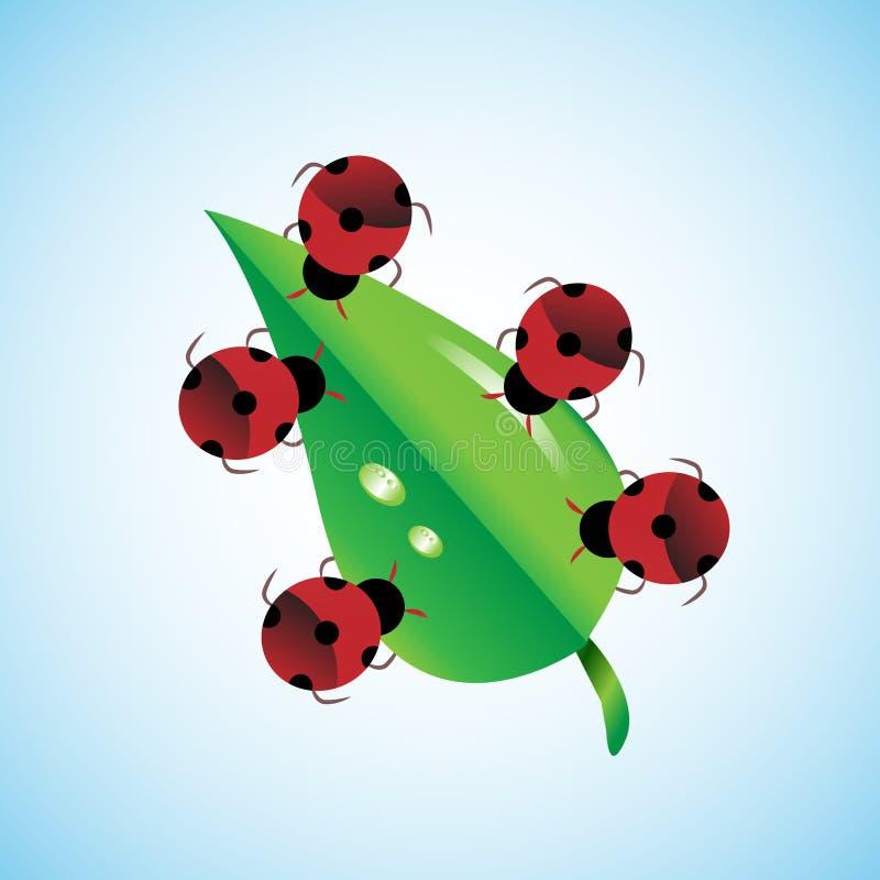 travail d'équipe d'isolement par illustration noire du concept 3d Les insectes portant ensemble la feuille, ceci représentent éga illustration stock
