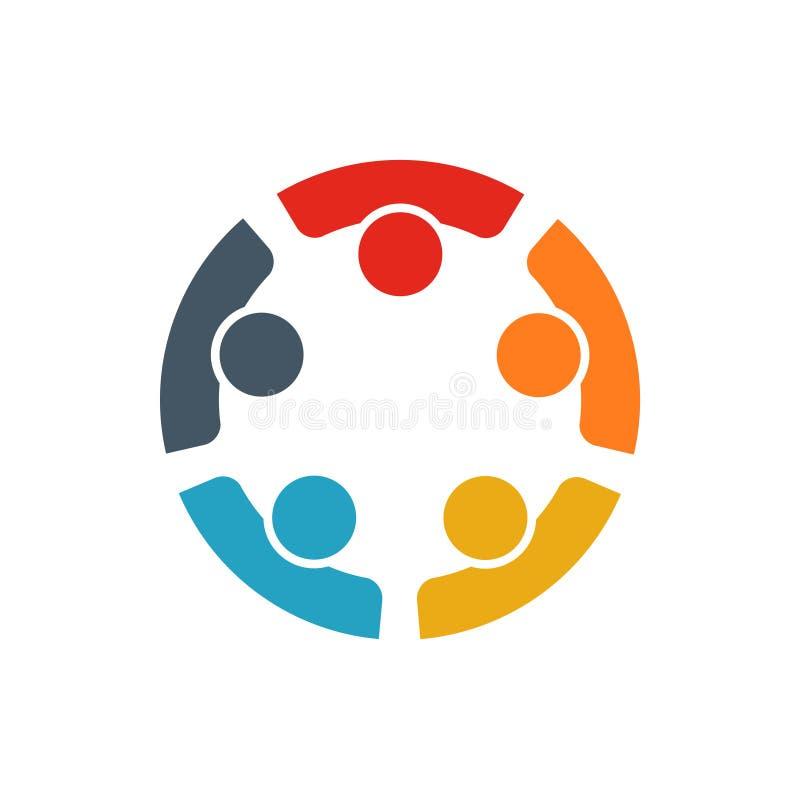 Travail d'équipe de cinq personnes travaillant ensemble pour atteindre un but illustration stock