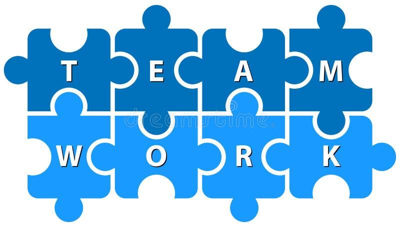 Travail d'équipe de morceaux de puzzle sur le blanc illustration libre de droits