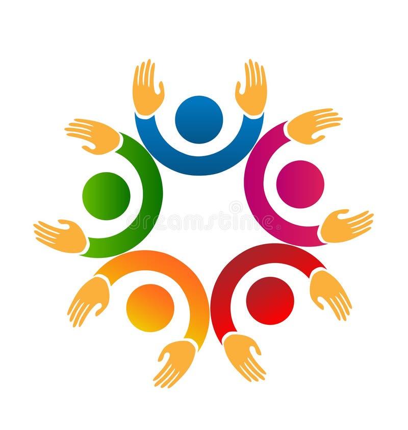 Travail d'équipe de personnes avec soulever des mains, vecteur d'icône illustration stock