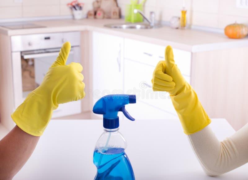 Travail d'équipe de substance de nettoyage image libre de droits