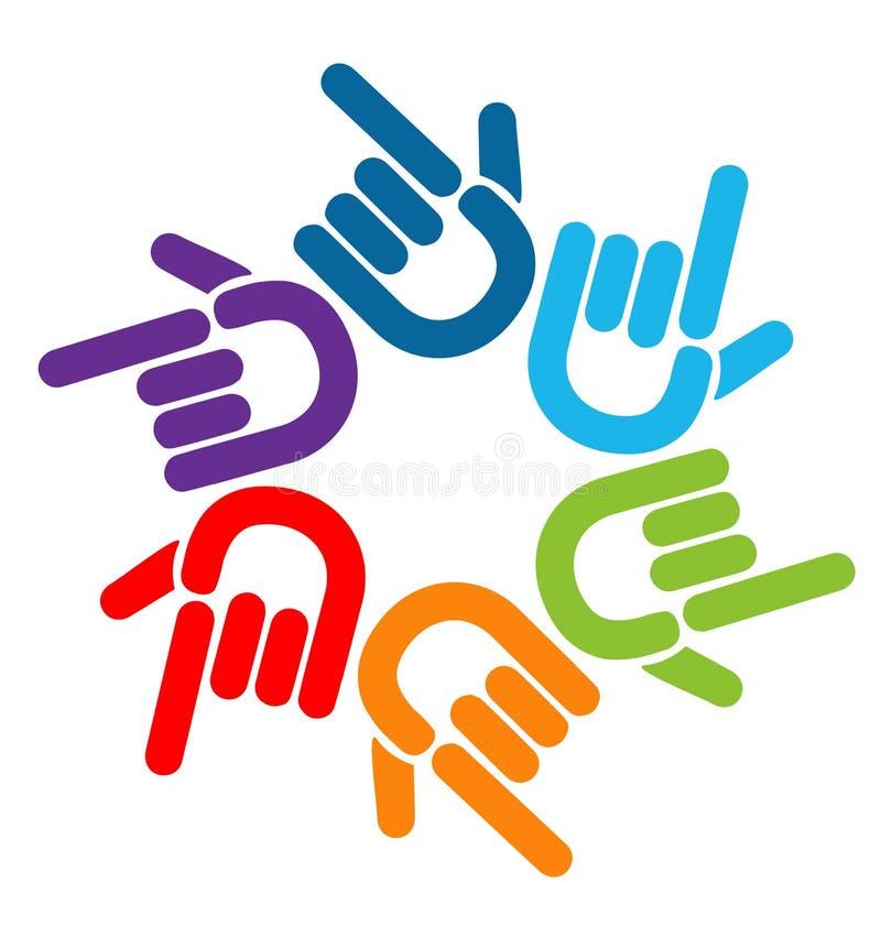 Travail d'équipe dirigeant les mains colorées, vecteur de logo d'icône illustration stock