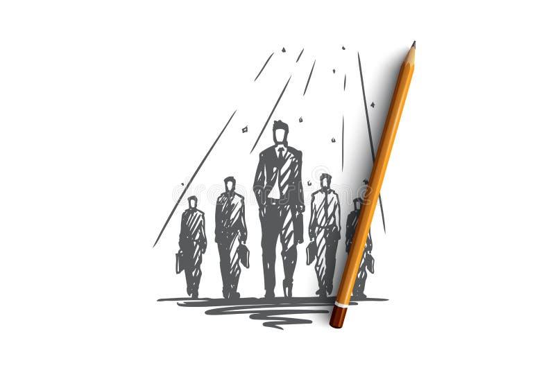 Travail d'équipe, ensemble, direction, recrutant, concept de ressources humaines Vecteur d'isolement tiré par la main illustration stock