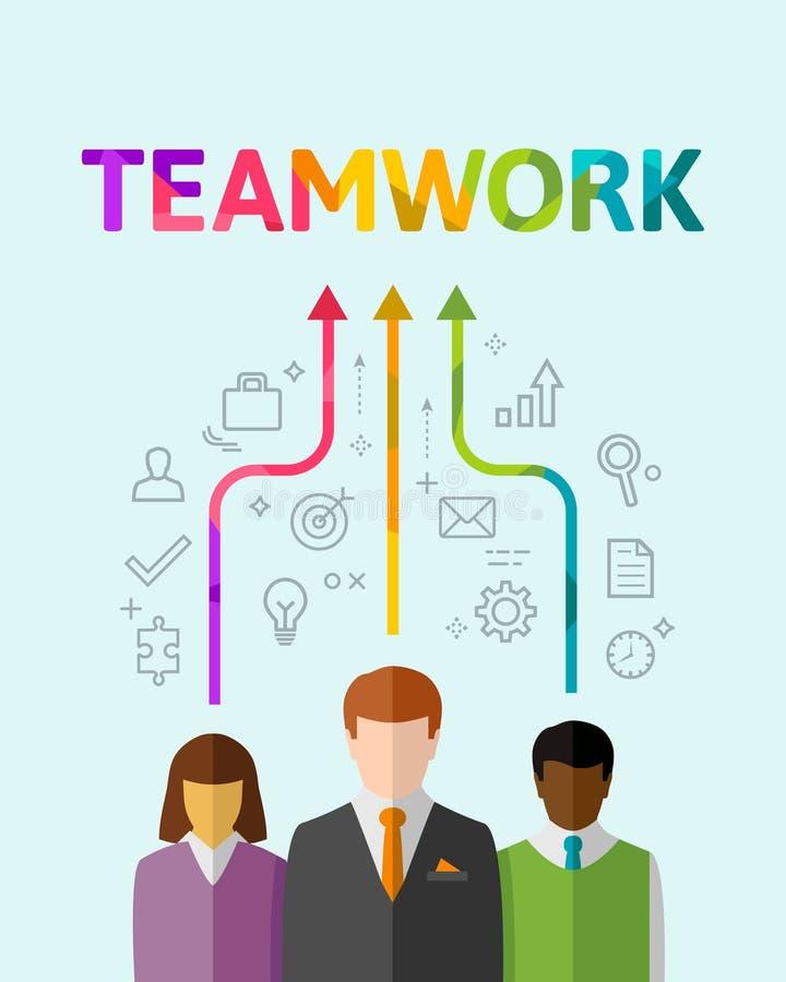 Travail d'équipe et concept de synergie avec l'équipe multi-ethnique illustration stock