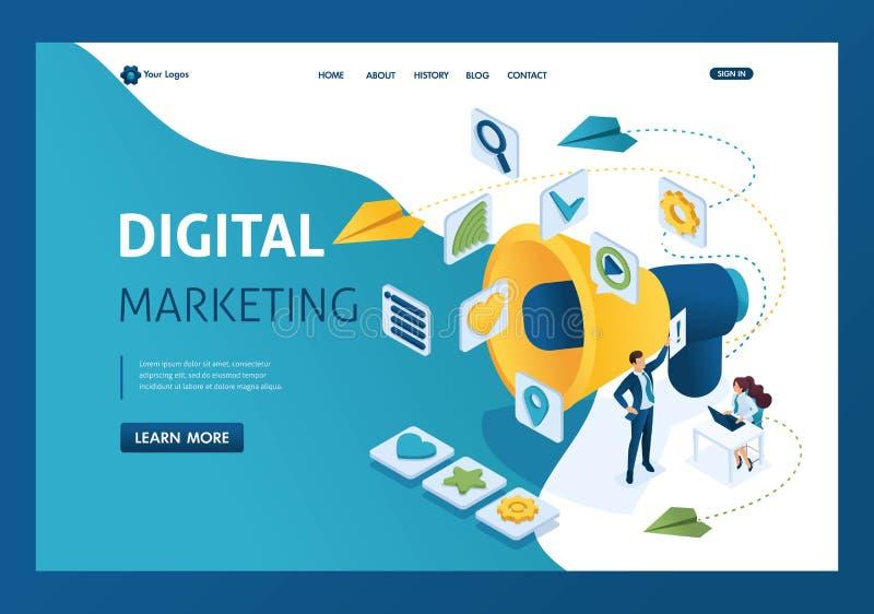 Travail d'équipe et marquage à chaud de commercialisation isométrique, panneau d'affichage et annonce, stratégies marketing Page  illustration stock