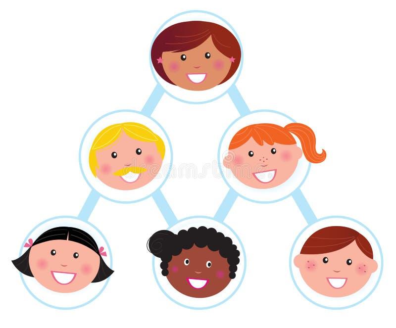 Travail d'équipe et support/équipe travaillante : pyramide humaine illustration stock