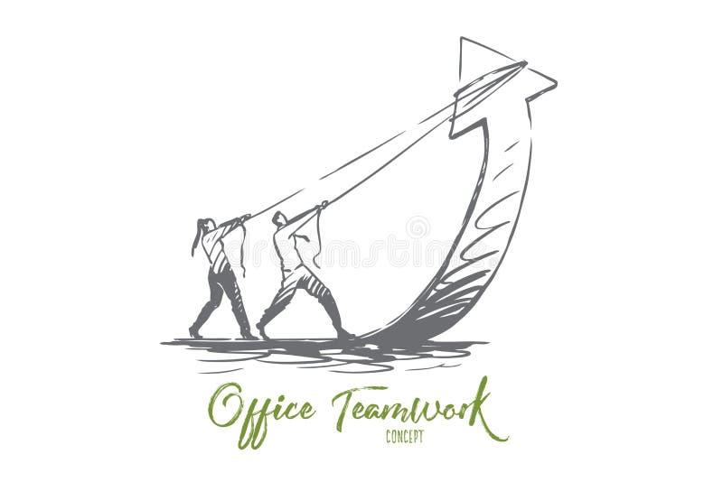 Travail d'équipe, flèche, croissance, affaires, concept de progrès Vecteur d'isolement tir? par la main illustration libre de droits